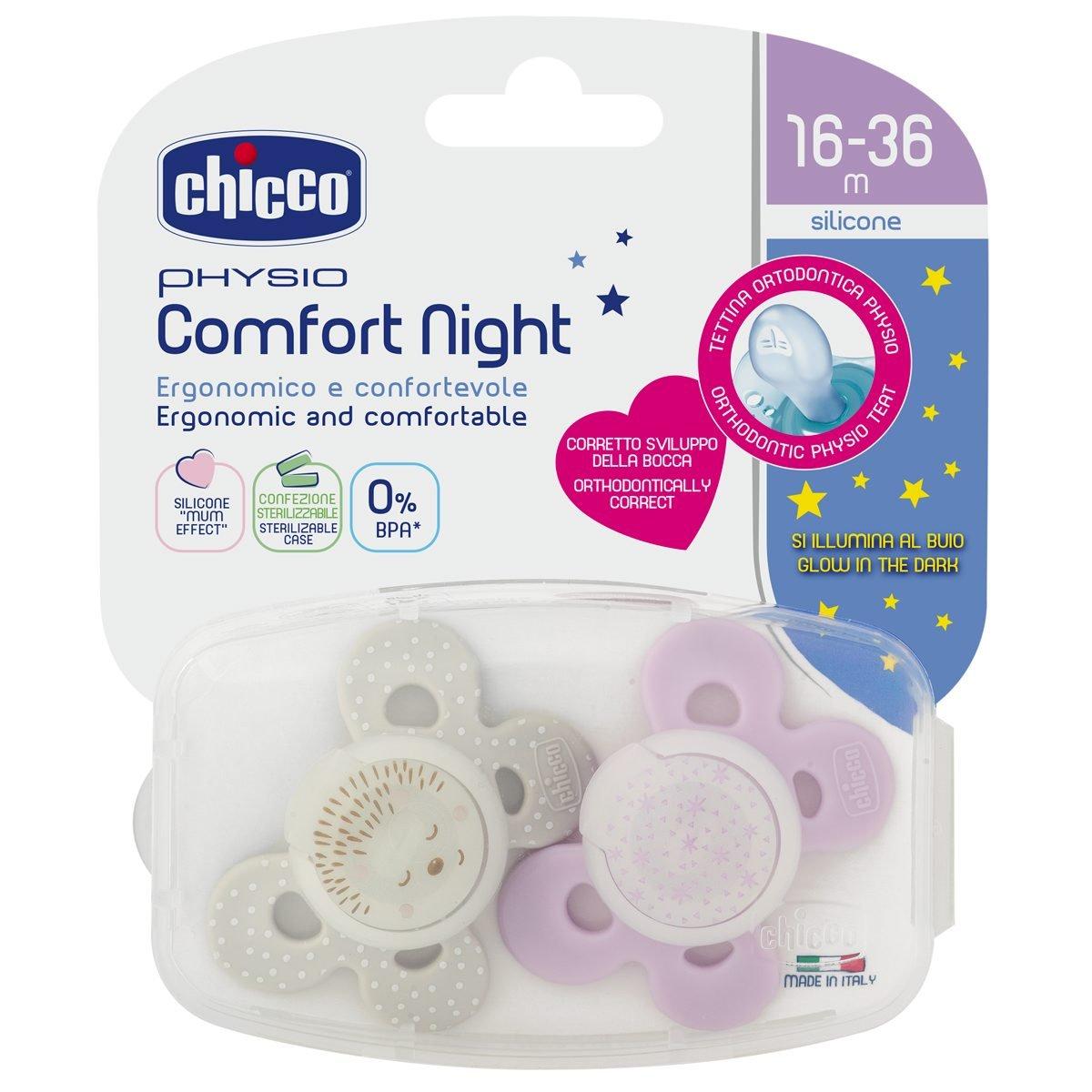Chicco Physio Comfort - Pack de 2 chupetes de silicona 16-36 m, color rosa (diseños surtidos)