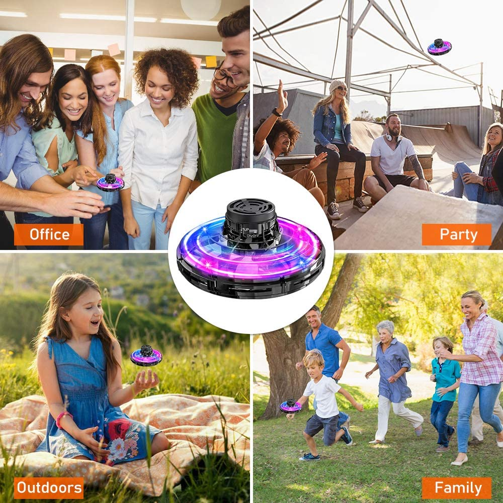 Hand Operated Drones for Kids or Adults Black Easy Indoor Small Orb LED Flying Ball Drone Toys for Boys or Girls Flynova Scoot Hands Free Mini Drone Helicopter Flying Saucer Toy