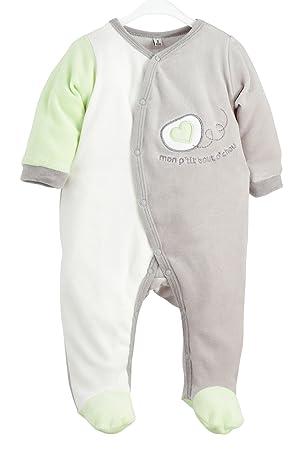 edd1df6cb8844 Kinousses Dors Bien Grenouillère Pyjama pour Bébé en Velours Motif Mon Bout  d Chou Vert