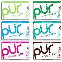 PUR Gum The PUR Company  | Sugar-Free + Aspartame-Free Chewing Gum  | 100% Xylitol  | Mint Flavour Variety Pack  | Vegan + Non GMO  | 9 Pieces per Pack (Bundle of 6, 54 Pieces), Variety, 6 Count