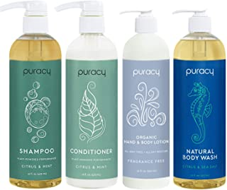 product image for Puracy Organic Haircare and Skin Care Set, Natural Shower Gel, Shampoo, Conditioner, Moisturizer, 60 Ounce (4-Pack)
