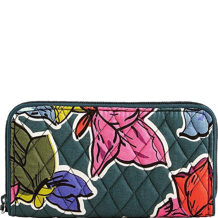 3961ba6ada Amazon.com  Vera Bradley Women s RFID Georgia Wallet Banana Leaves Brown  Wallets  Clothing