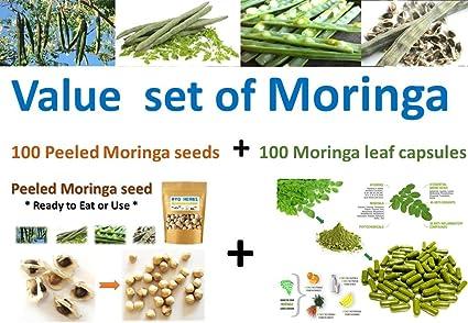 Amazon com : Value set of Moringa - 100 Peeled Moringa seeds