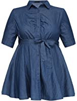 Agnes Orinda Women Plus Size 1/2 Sleeves Belted Above Knee Denim Shirt Dress