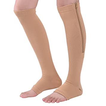 8efa0adc27 Bronkey Zipper Medical Compression Socks 15-20 mmHg for Women Men, Unisex Open  Toe