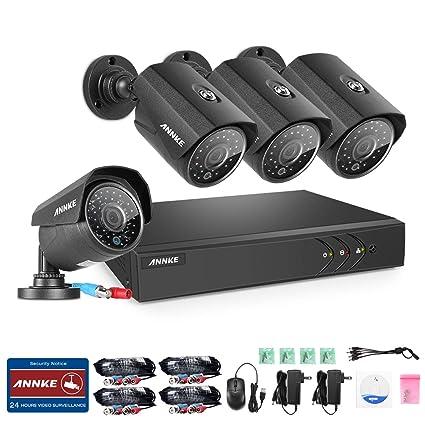 ANNKE Kit de 4 Cámaras de Vigilancia Seguridad CCTV DVR 4CH TVI 1080P Lite Recorder 720P