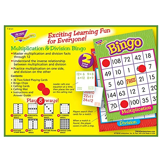 Amazon Multiplication Division Bingo Game Office Products