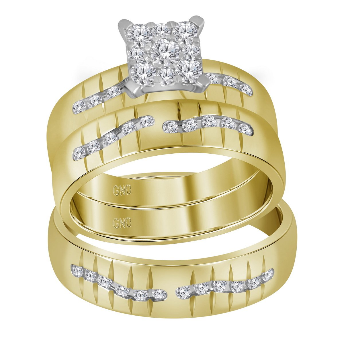 Amazon Com Jewels By Lux 14kt Yellow Gold His Hers Round