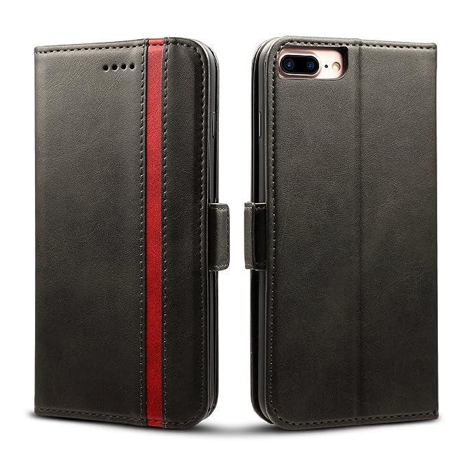 Rssviss iPhone 7 Plus hülle,Premium Lederhülle 6s Plus Handyhülle iPhone 8 Plus Schutzhülle [3 Kartenfächer ] iPhone 7/8 Plus