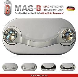 MAG-B porta occhiali magnetico (acciaio inossidabile lucido con cristalli originali di Swarovski)