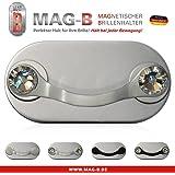 MAG-B porte lunettes magnétique (acier inoxydable poli avec cristal Swarovski d'origine)