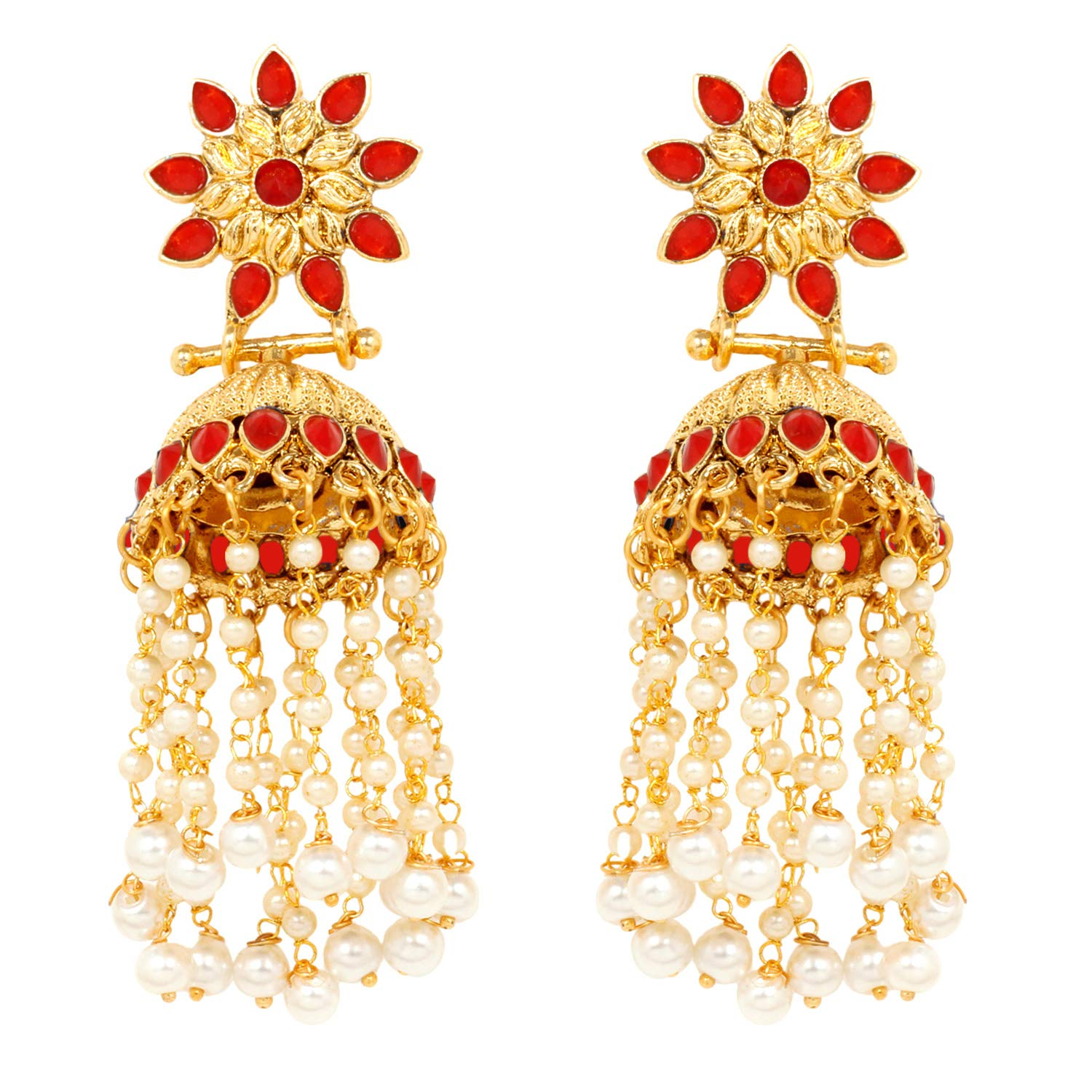 Ratna Indian Bollywood Ethnic Gold Tone Pearl Jhumka Jhumki 4 Different ColorStone Polki Bridal Earring Set Traditional Jewelry