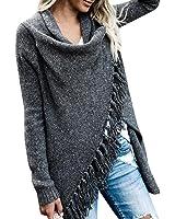 FISACE Women Elegant Aztec Stripes Fall Tassels Slash Hem Cardigan Loose Sweater Poncho