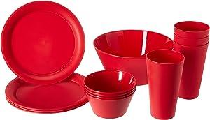 CreativeWare CH623CHRY Cherry 13 Piece My First Dorm/Apartment Plastic Dish Set,