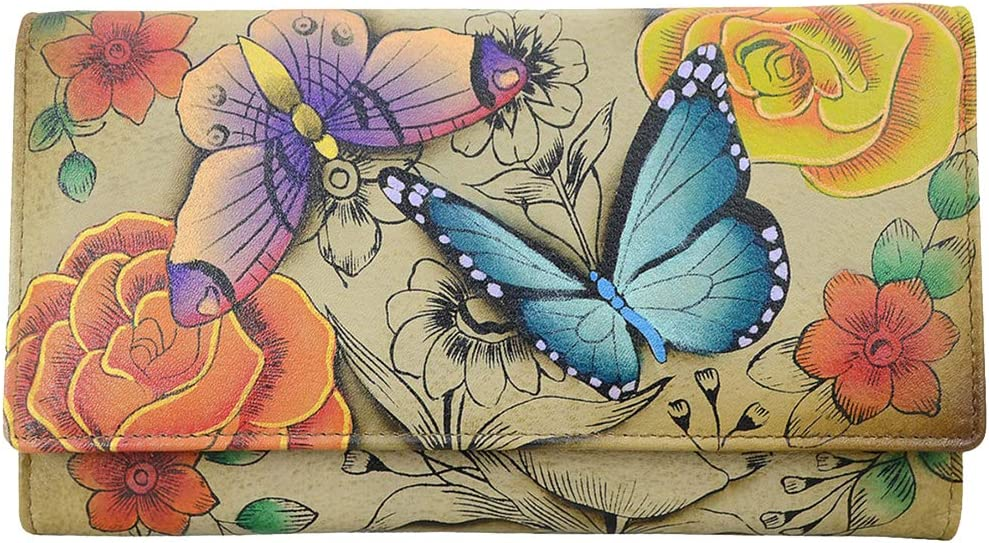 Anna Anuschka Handpainted Trifold Wallet Id Window Credit Card Coin Many Bill Pocktes (Floral Paradise Tan)