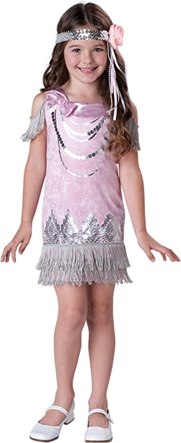 Vintage Style Children's Clothing: Girls, Boys, Baby, Toddler InCharacter Costumes LLC Fancy Flapper Pink/Silver 6 $29.99 AT vintagedancer.com