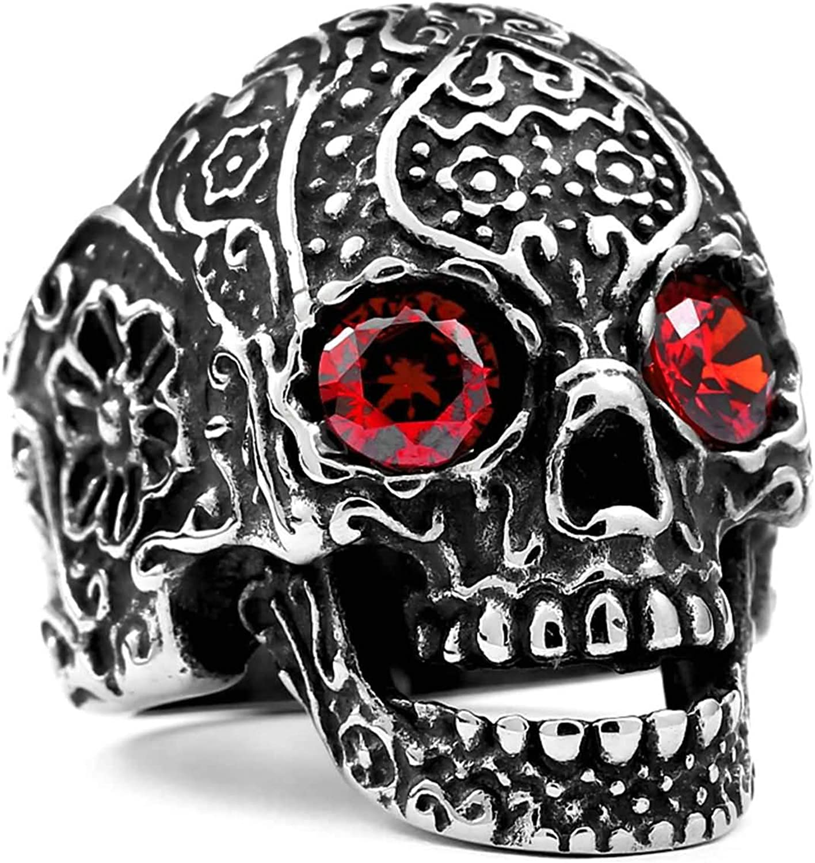 Amody Anillo Anillo Punk gótico para Hombre Cráneo con Rojo/Ojos Negros Zirconia Anillo de Acero Inoxidable para Hombre