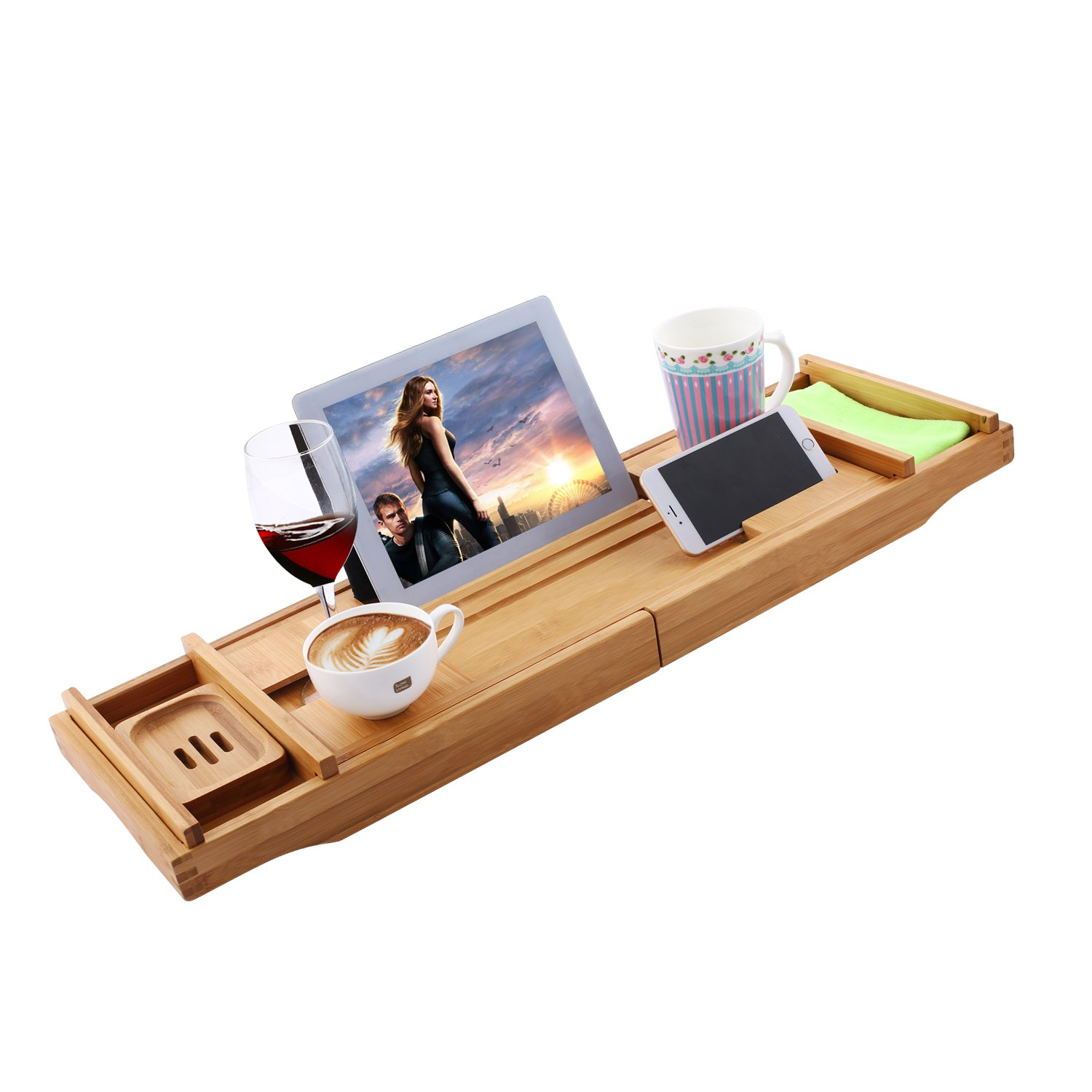 Adjustable 12 in 1 Bath Tube Caddy Tray, 1/2 Person SPA Bamboo Bathtub Caddy, Soap Dish| Wine Glass Holder, Book Reading Rack| Wooden Shelf (Bamboo) by Fashine (Image #4)
