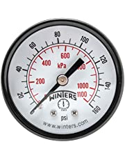 "Winters PEM Series Steel Dual Scale Economy Pressure Gauge, 0-160 psi/kpa, 2"" Dial Display, -3-2-3% Accuracy, 1/4"" NPT Center Back Mount"