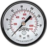 Winters PEM Series Steel Dual Scale Economy Pressure Gauge, 0-160 psi/kpa, 2' Dial Display, -3-2-3% Accuracy, 1/4' NPT…