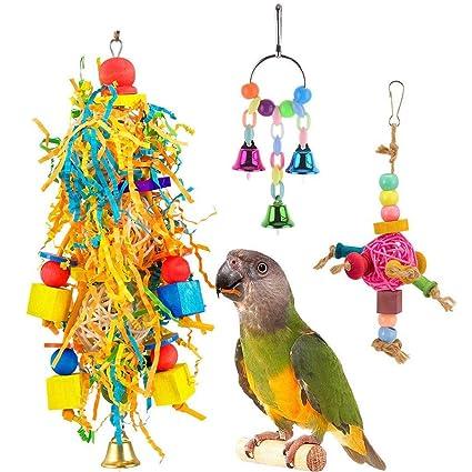 3 piezas de juguete de madera para loro, colorido, para pájaros ...
