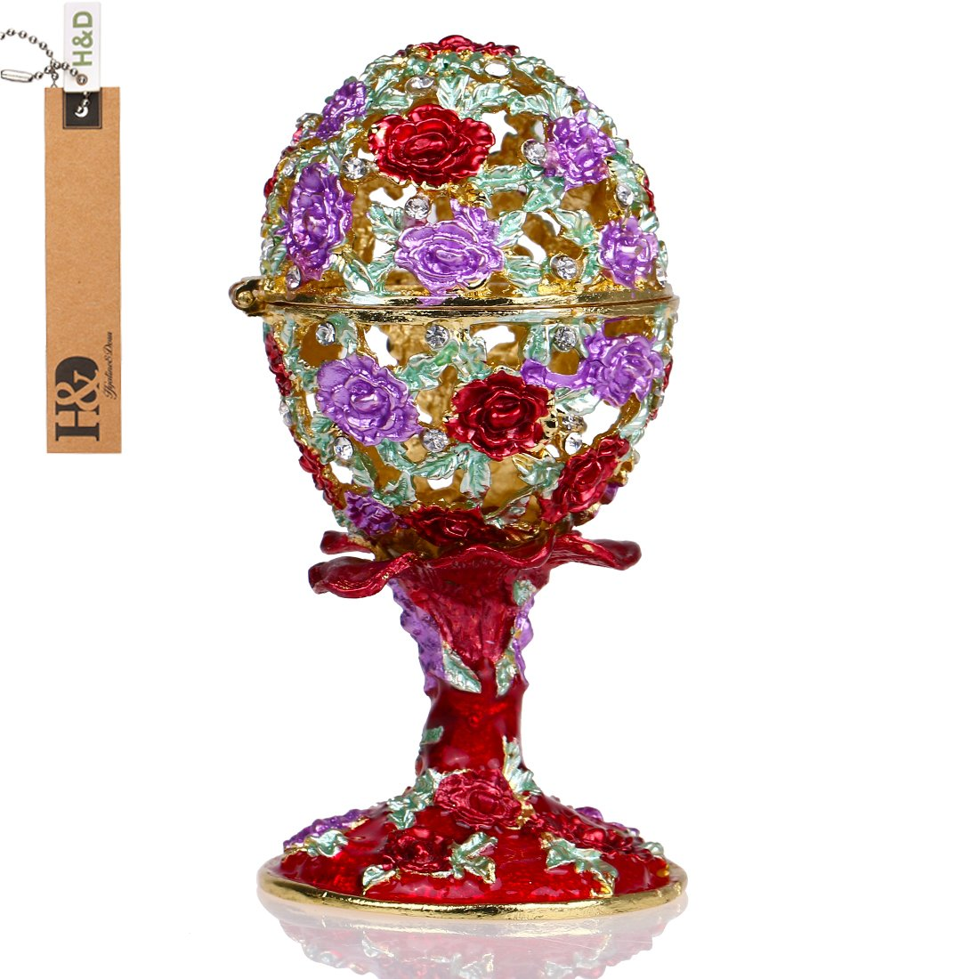 YUFENG Faberge Egg Holder Trinket Box Hinged Jewelry Ring Holder Collectible Figurine Boxes YUFENG CRAFTS MANUFACTURE CO. LTD