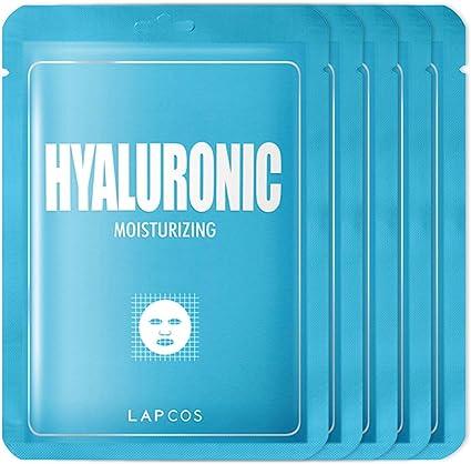 LAPCOS Máscara de hoja de ácido hialurónico, mascarilla diaria para proteger y nutrir la piel, favorito de la belleza coreana, paquete de 5: Amazon.es: Belleza