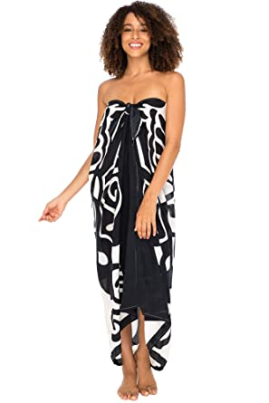 d4f5b79fd9 Back From Bali Womens Beach Dress Sarong Bikini Swimsuit Cover Up Wrap  Butterfly Print with Easy Built-in Ties Black at Amazon Women's Clothing  store: