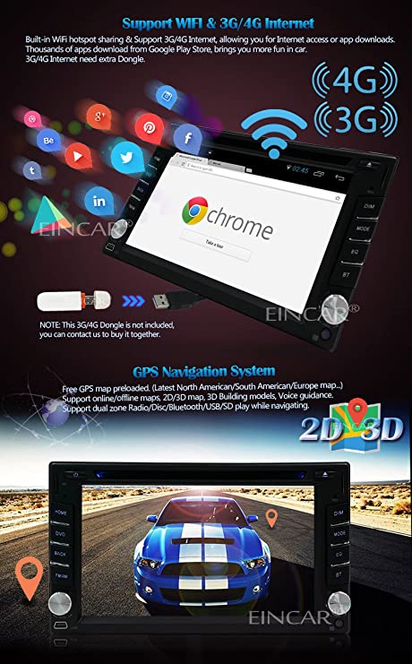 Free 3G/4G Dongle included! EinCar Wifi Android 5 1 1