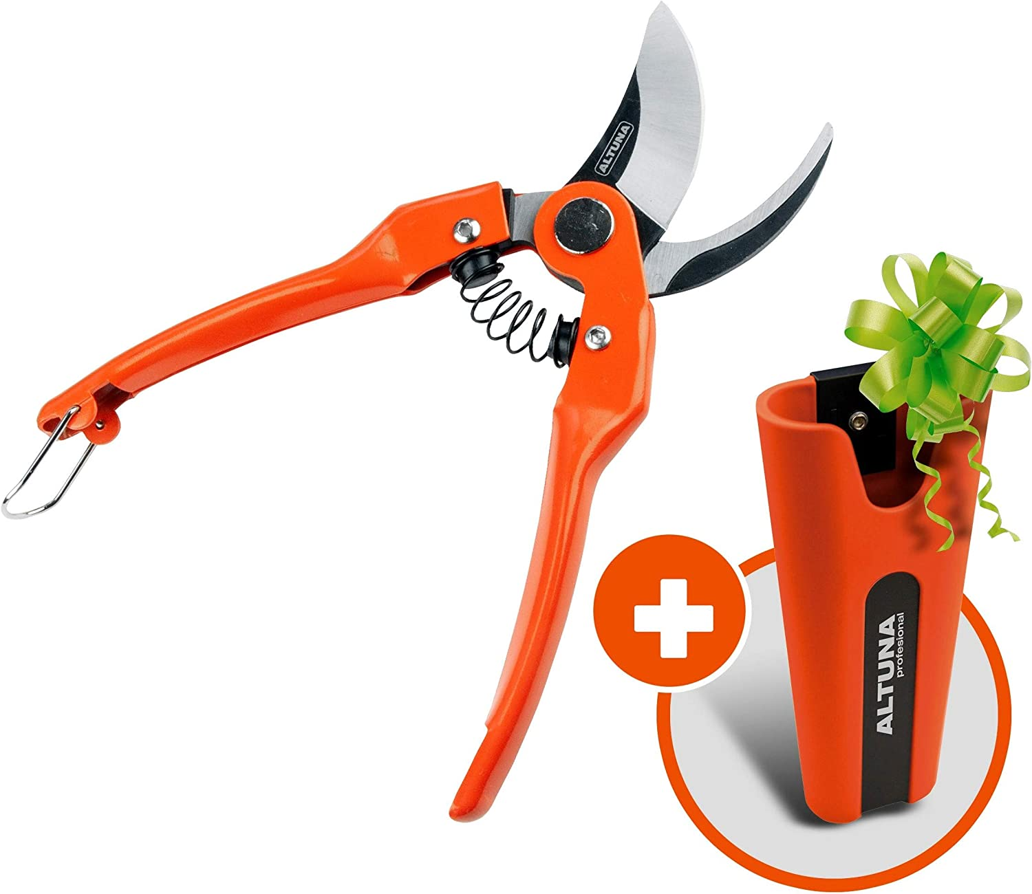 Pruner with Holster | Bypass Medium Size Steel Blades | Lightweight Traditional Pruning Shears | with Bonus Innovative All Weather Clip on Belt Flexible Pruner case Garden Tool Pouch