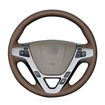 Amazoncom MEWANT Customized Dark Brown Genuine Leather Custom Car - Acura steering wheel cover