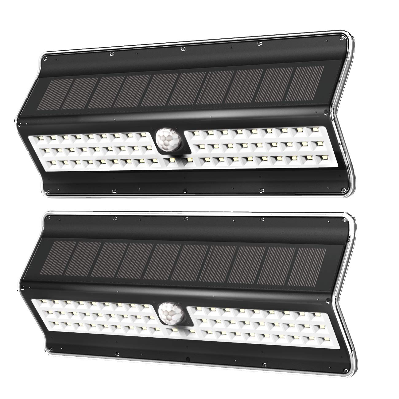 EZBASICS Solar Lights Outdoor 56 LED, Solar Motion Sensor Light Outdoor, Waterproof Wall Light, Wireless Security Night Light, Black Shape, 2 Pack