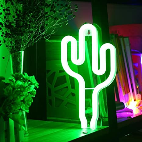 AIZESI Neon Light,Led Neon Lamps,Cactus Signs Marquee Battery Or USB  Operated Table