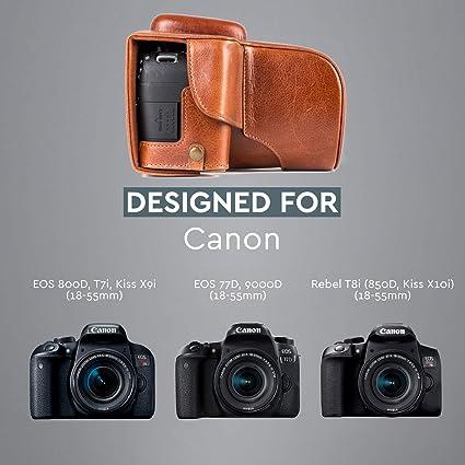 Megagear Ever Ready Echtleder Kameratasche Mit Trageriemen Kompatibel Mit Canon Eos 800d 77d 9000d