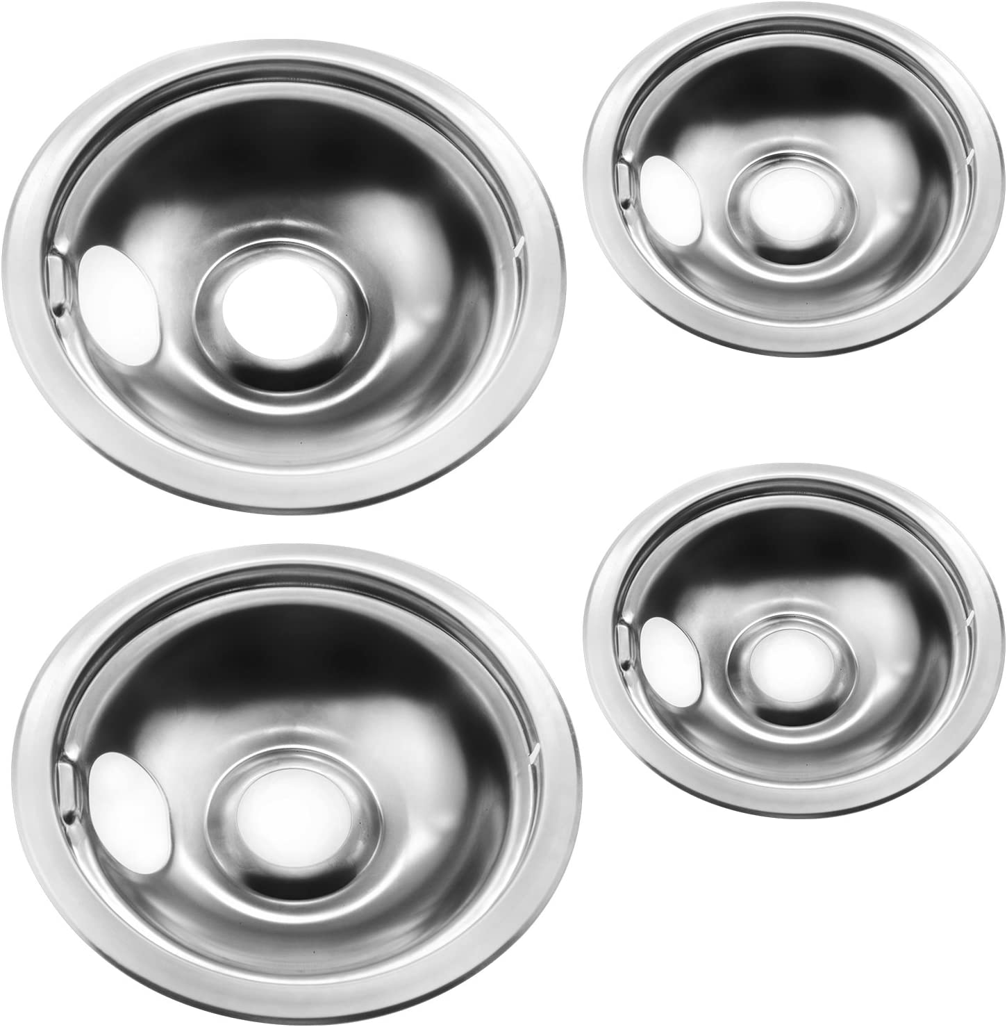 316048413 542T013P01 Pack of 2 PS437595 Range Drip Pan 8 Inch Chrome-Replaces 5303935054 542T021W01 - AP2124664 542T021P01 542T019P01 542T015P01 542T008P02 542T017P01 542T008P01