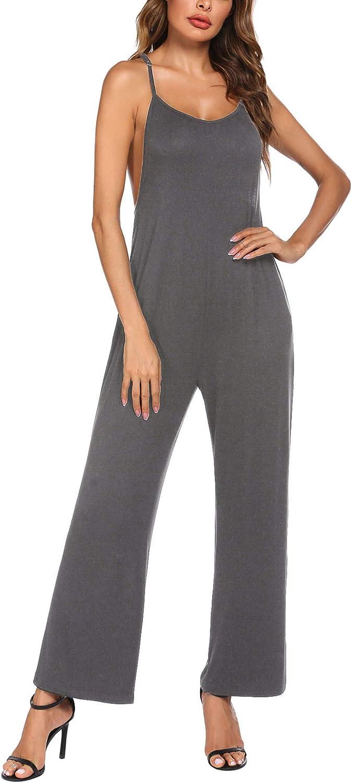 Ekouaer Pajamas Romper Women Sleep Jumpsuit Loose Loungewear Sexy One Piece Sleepwear Modal Harem Playsuit