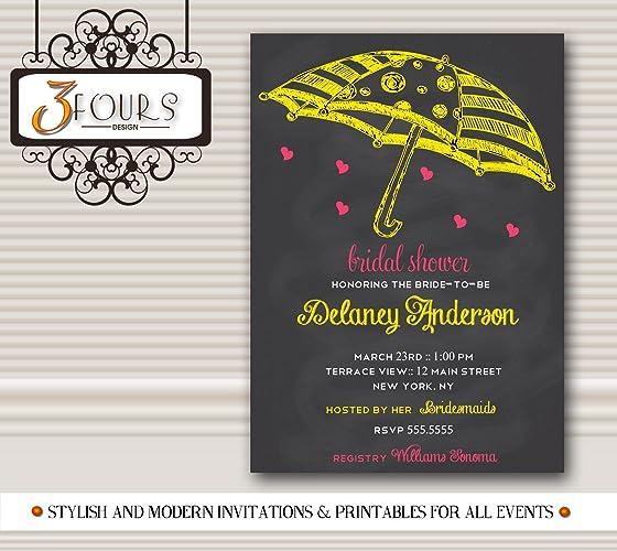 chalkboard umbrella bridal shower invitation