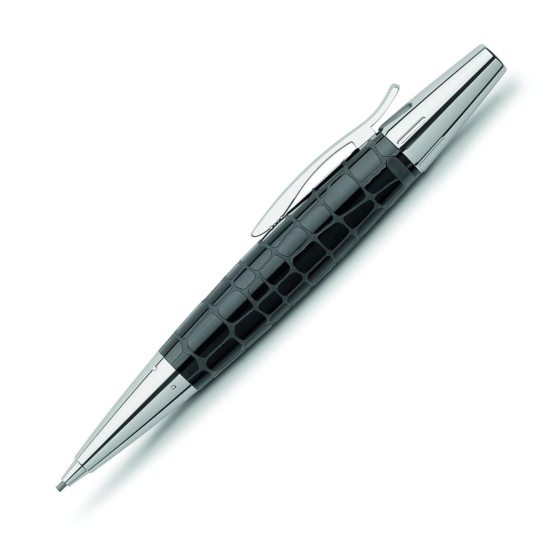 Faber-Castell 138350 - Matita meccanica coccodrillo Resina e-motion, Miniera: 1,4 millimetri, compresa la confezione regalo, colore barile: nero/argento