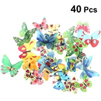 Vosarea 40pcs Cake Toppers Butterfly Cupcake Toppers Edible Glutinous Wafer Rice Paper Fruit Dessert Decoration for Birthday Wedding Party Supplies (Assorted Pattern)