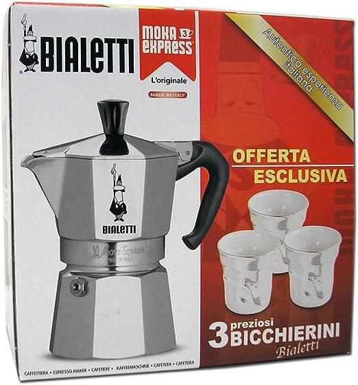 Bialetti 4720 - Juego de cafetera italiana para 3 tazas y 3 vasos para café: Amazon.es: Hogar