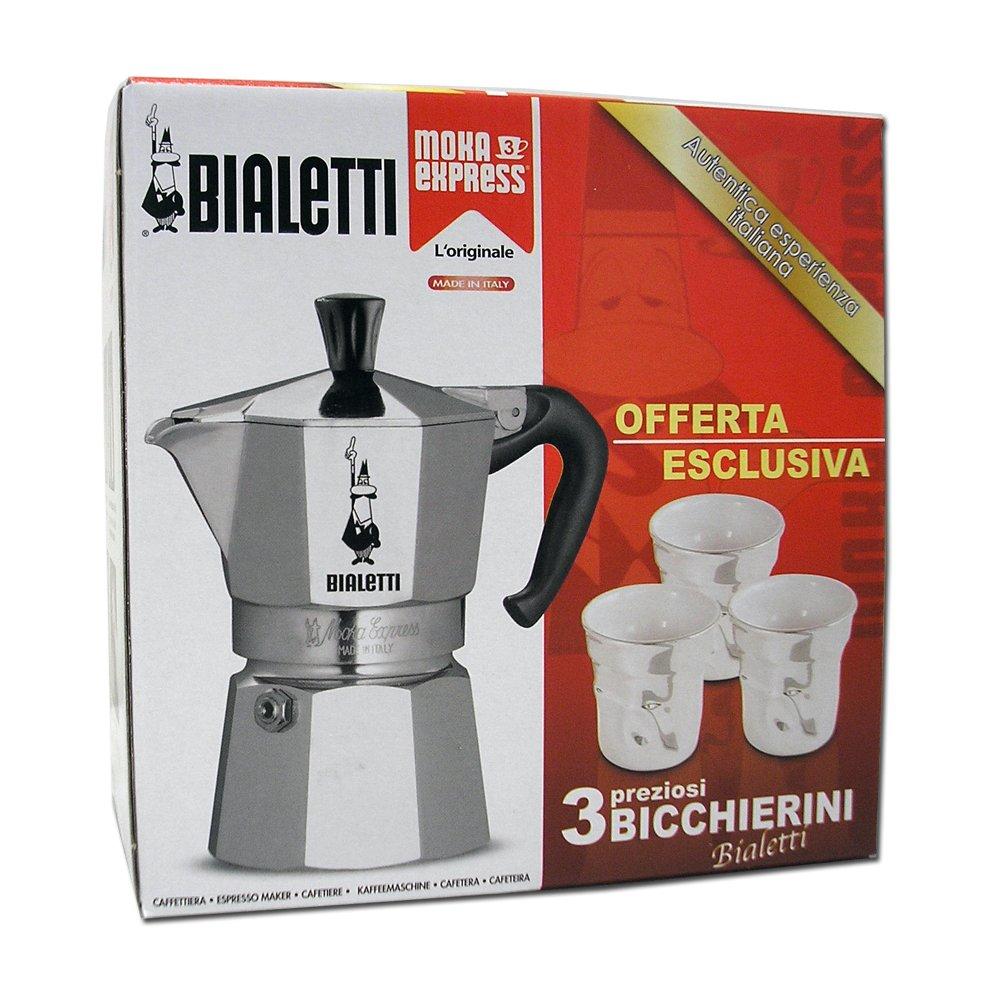 Bialetti 4720 - Juego de cafetera italiana para 3 tazas y 3 vasos ...