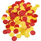 Pangda 200 Pieces Colored Plastic Counters Counting Chips Bingo Markers with Storage Bag for Math or Games