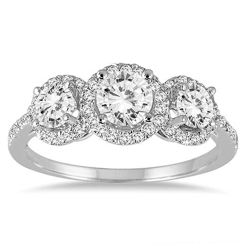 0a16d7660bbbf Amazon.com: 1 1/3 Carat TW Diamond Three Stone Halo Ring in 14K ...