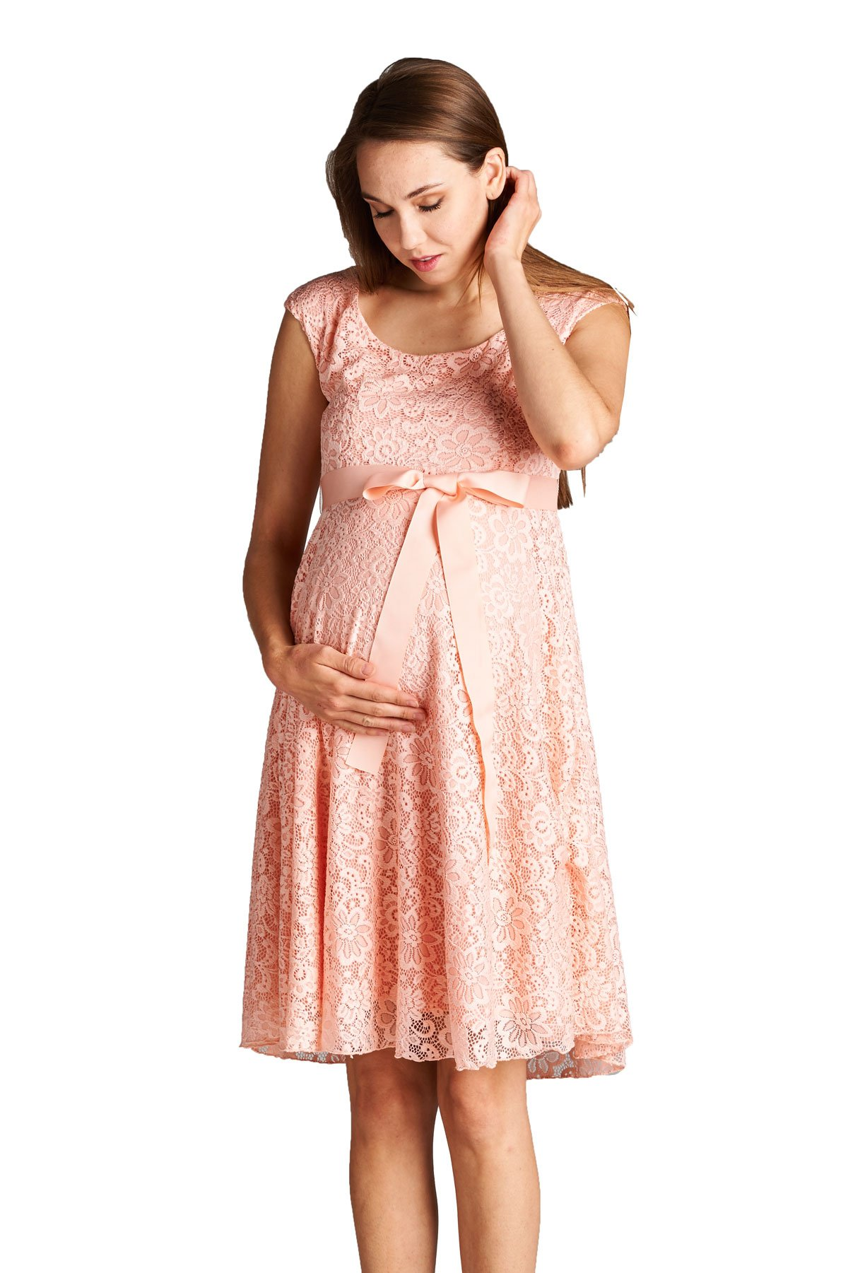 Hello MIZ Floral Lace Baby Shower Party Cocktail Dress with Satin Waist Maternity Dress (Small, Light Pink)