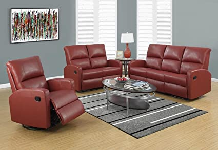 Monarch Specialties I 84RD-3 Reclining Sofa in Red Bonded Leather