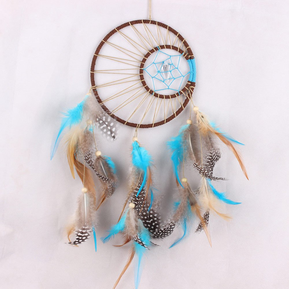 QOCOO Traditional Handmade Sun & Moon Dream Catcher with Natural Feathers and Crystal , 17.7'' Beautiful Home Yard Decoration Wall Window Door Hanging Ornament, Great Craft for Room or Best Wishes Gift