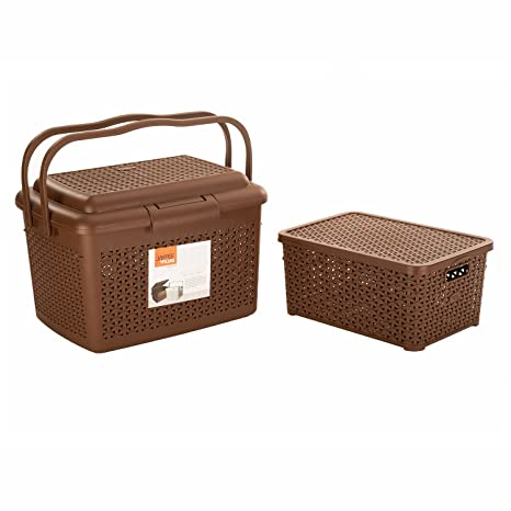 Jaypee plus Carry All  amp; Keep All with Cover Big, Brown  Pack of 2  Storage Baskets