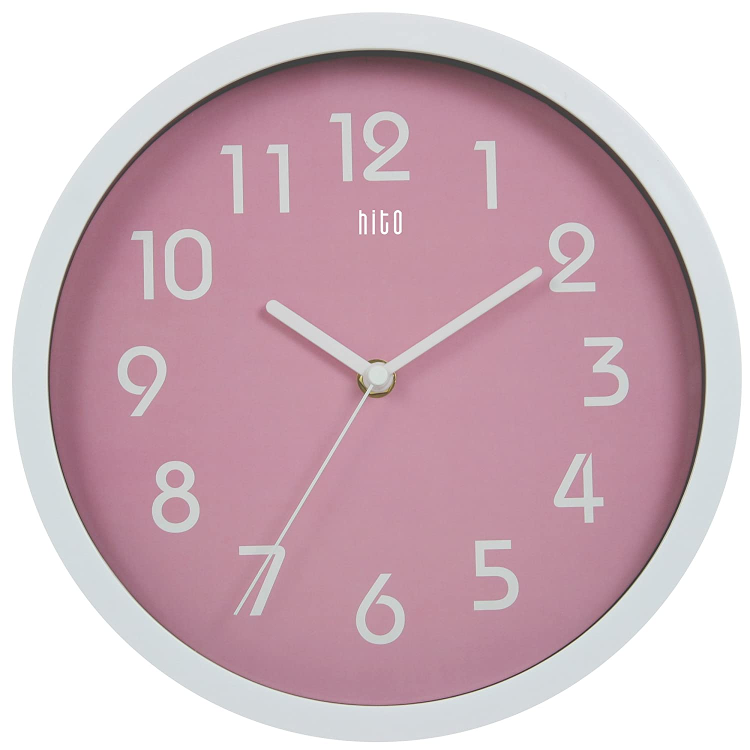 Amazon hitotm modern colorful silent non ticking wall clock amazon hitotm modern colorful silent non ticking wall clock 10 inches pink home kitchen amipublicfo Gallery