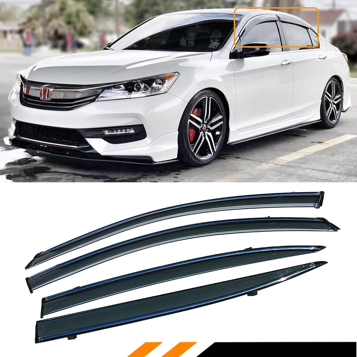 4Pcs Window Visor Vent Shade Rain//Sun//Wind Guard for 2013-2015 Up Honda Accord