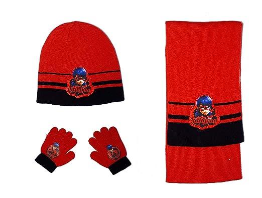 88fb5ce2e3af Miraculous Ladybug Ensemble écharpe, bonnet et gants fille - Rouge ...